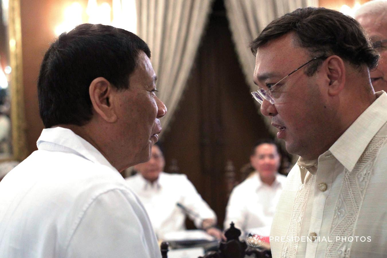 President Rodrigo Roa Duterte discusses matters with Presidential Spokesperson Atty. Harry Roque on the sidelines of the 22nd Cabinet Meeting at the Malacañan Palace on February 5, 2018. ACE MORANDANTE/PRESIDENTIAL PHOTO