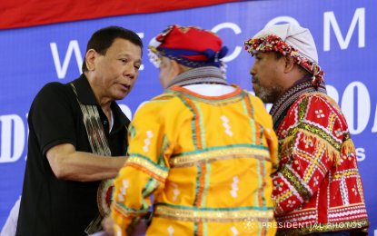 Speaking before the leaders of tribal communities in Davao City on Thursday, February 1, President Duterte vowed to facilitate the entry of investors and government assistance to tribal areas for them to develop and secure sustainable livelihood. (PNA Photo)